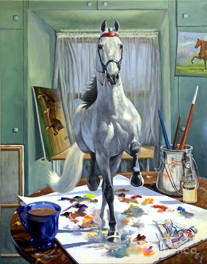 Saddlebred Painting - Work In Progress V by Jeanne Newton Schoborg