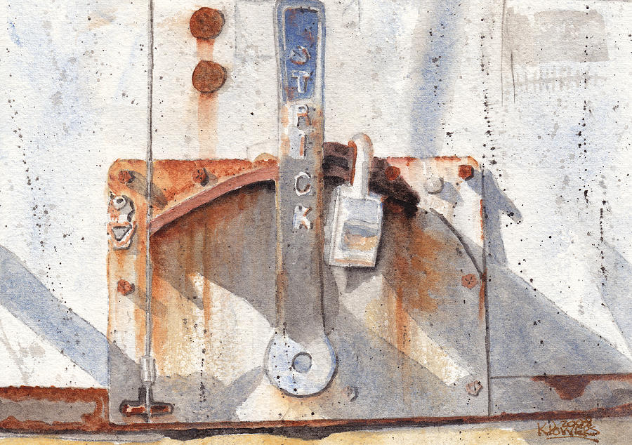 Semi Painting - Work Trailer Lock Number One by Ken Powers
