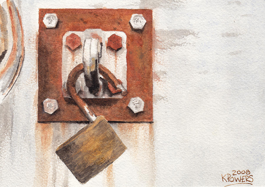 Rust Painting - Work Trailer Lock Number Two by Ken Powers