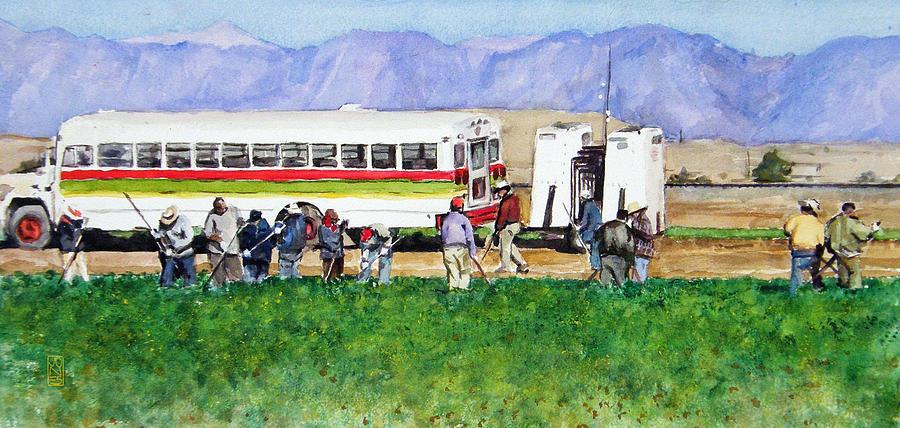 Mexico Painting - Workers by Debra Jones