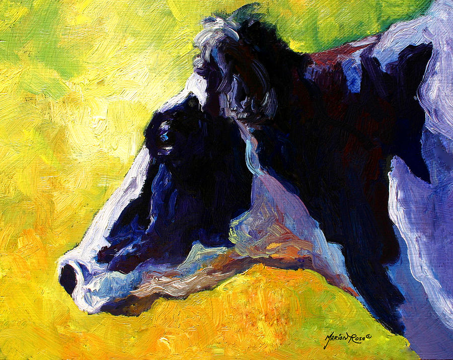 Western Painting - Working Girl - Holstein Cow by Marion Rose