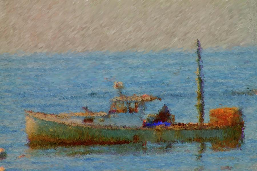Lobster Boat Painting - Working Hard Lobster Boat Smugglers Cove Boothbay Harbor Maine by Viktor Arsenov