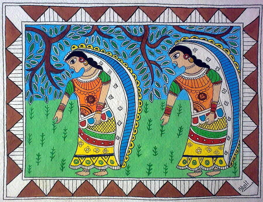 Mithila Painting - Working In Farms Madhubani Painting by Aboli Salunkhe