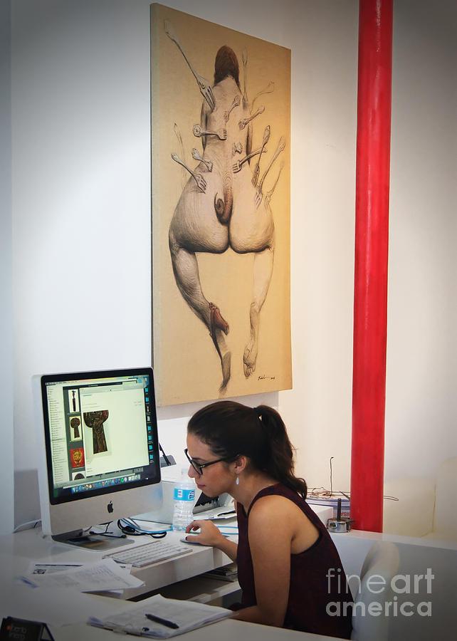 Art Gallery Photograph - Working In The Art Gallery by Dieter Lesche
