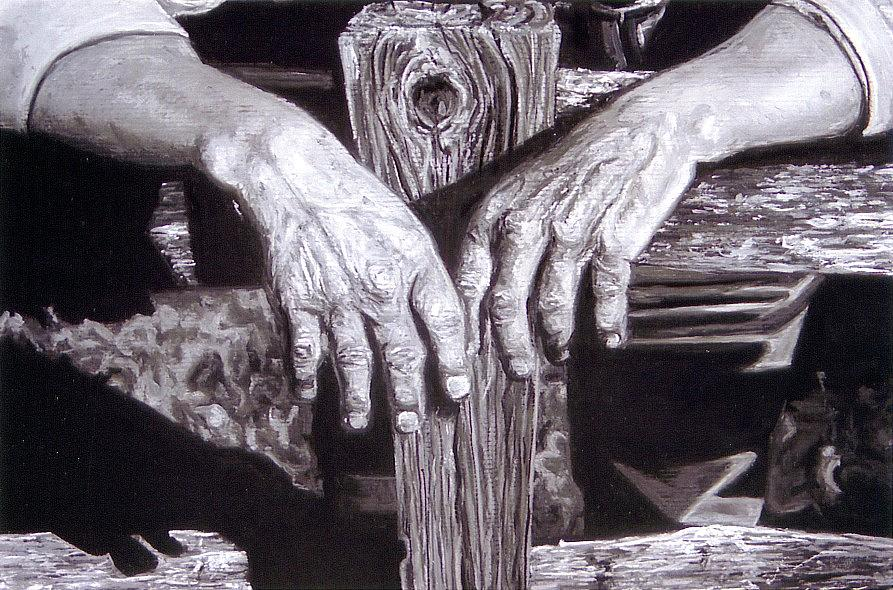 Working Mans Hands Painting by Cameron Hampton P S A
