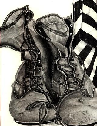 Boots Drawing - Working Mans by Penny Everhart