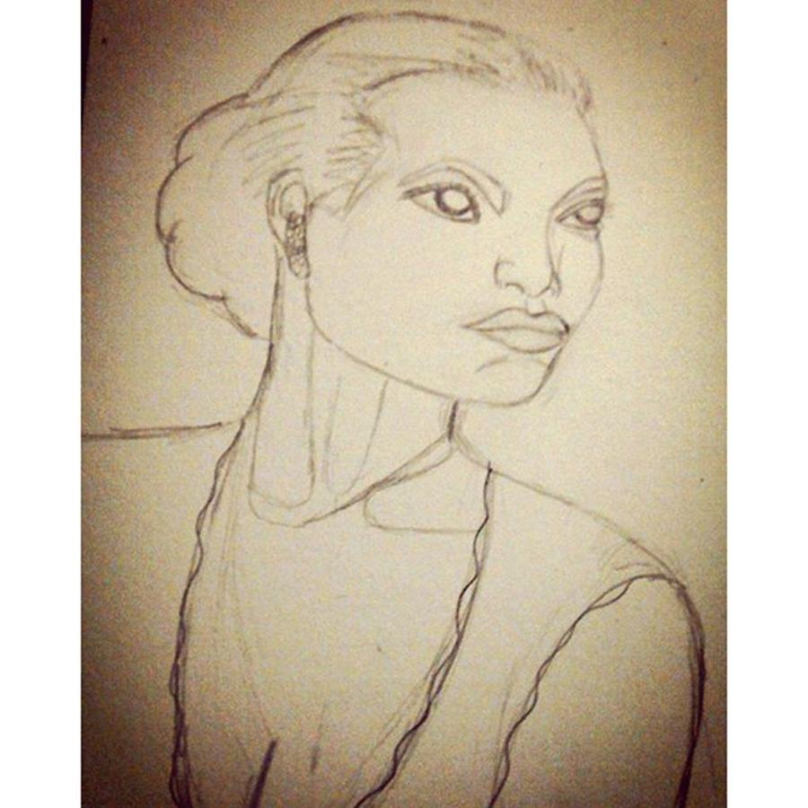 Woman Photograph - Working On An Eartha Kitt Sketch For My by Genevieve Esson
