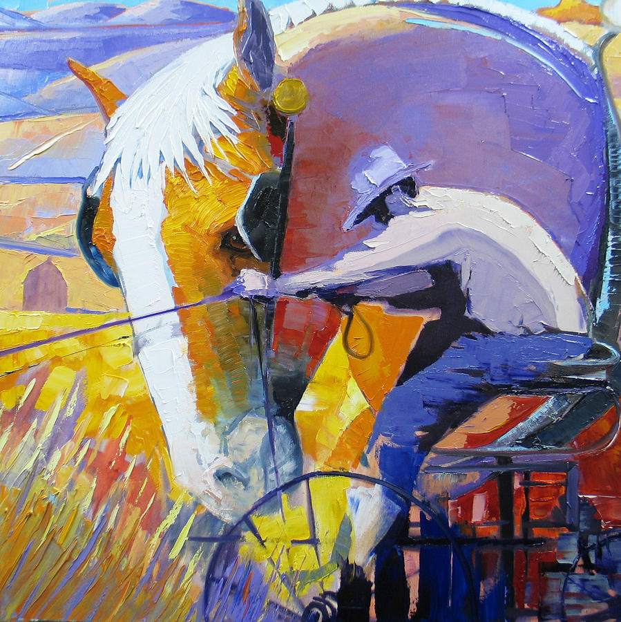 Horse Painting - Working The Land by Gregg Caudell