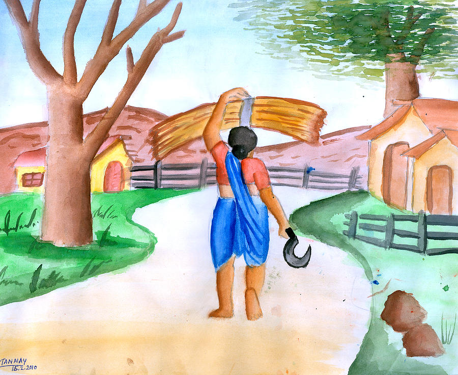 Working Woman Painting - Working Woman Returning Home by Tanmay Singh