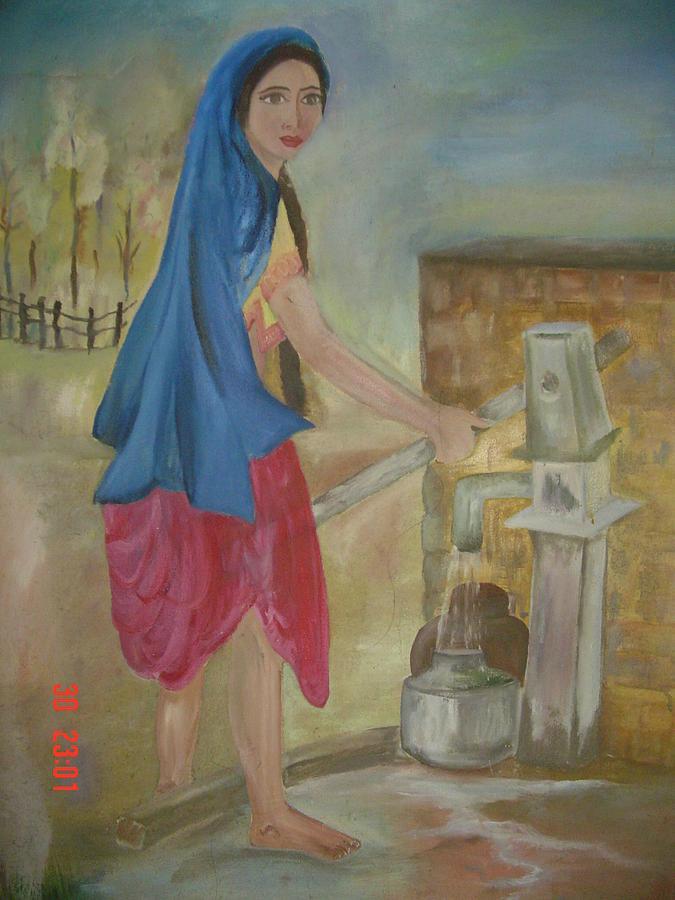 Woman Painting - Working Woman by Sapna Dogra Singh