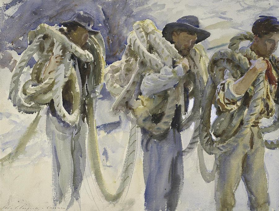 Sargent Drawing - Workmen At Carrara by John Singer Sargent