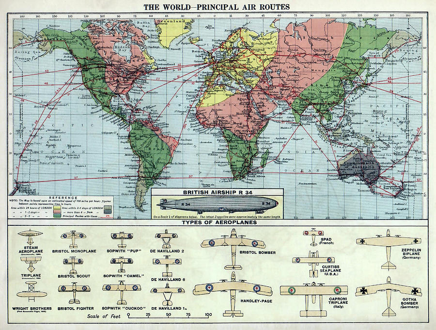 Air Map Of The World.World Air Routes Map 1920 Photograph By Daniel Hagerman