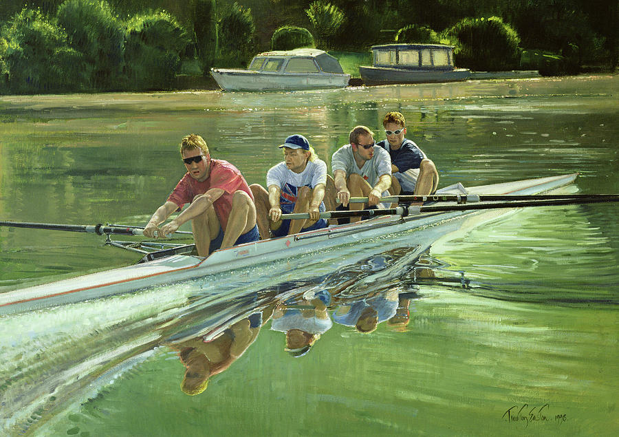 Rowing Painting - World Champions by Timothy Easton