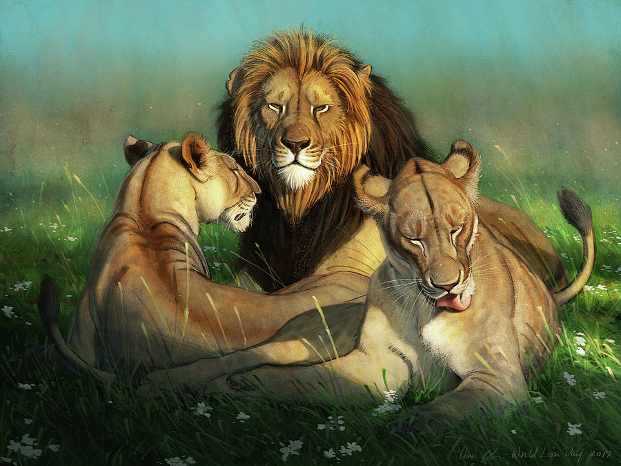 Lions Digital Art - World Lion Day by Aaron Blaise