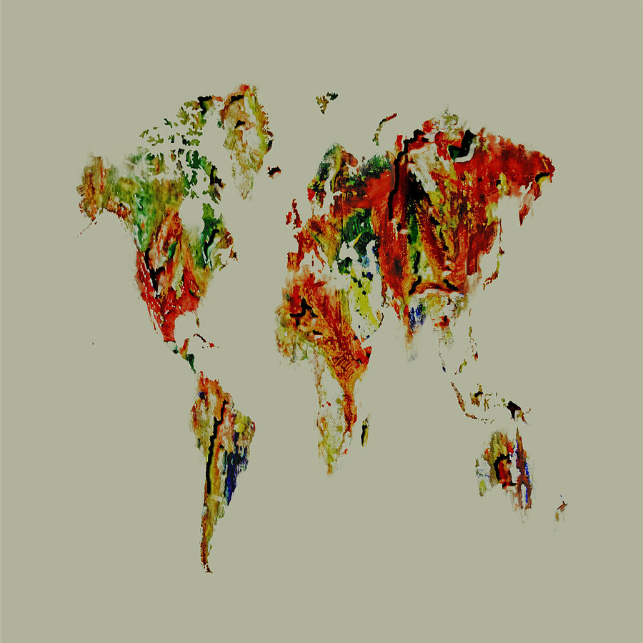 World Map Painting - World Map 02a by Brian Reaves