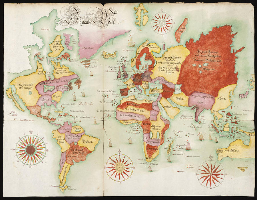World map 1675 german photograph by l brown longitude photograph world map 1675 german by l brown gumiabroncs Choice Image