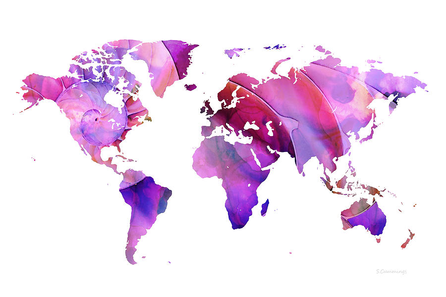 map painting world map 20 pink and purple by sharon mings by sharon mings