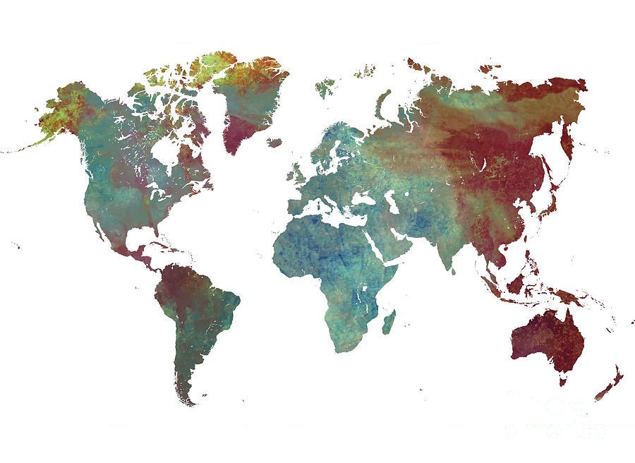 Map Of The World Digital Art - World Map After Dark by Justyna Jaszke JBJart