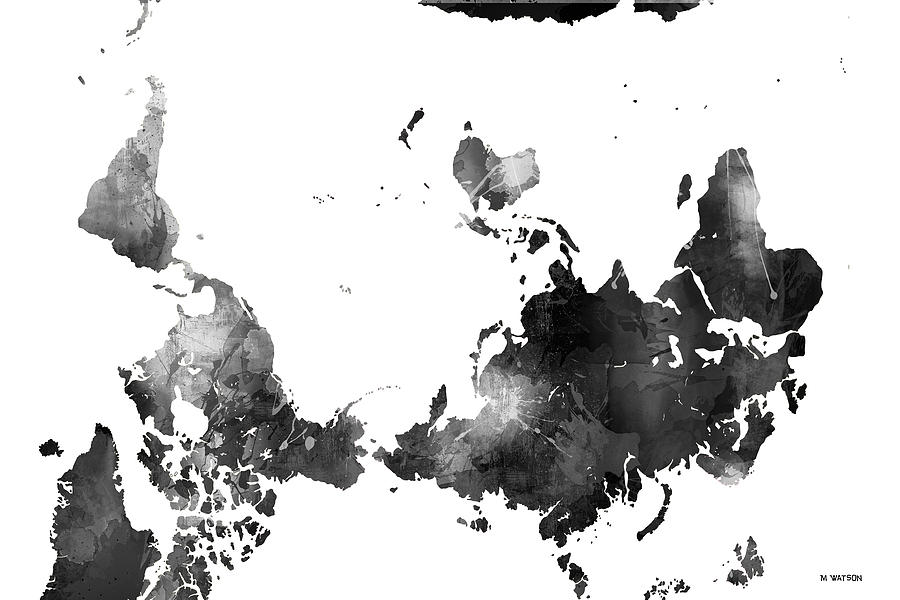 World map black and white digital art by marlene watson map digital art world map black and white by marlene watson gumiabroncs Images