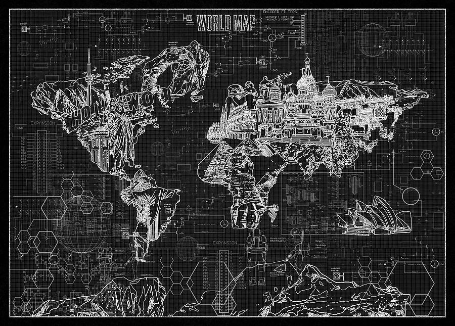 World map blueprint 2 digital art by bekim art map of the world digital art world map blueprint 2 by bekim art malvernweather Choice Image