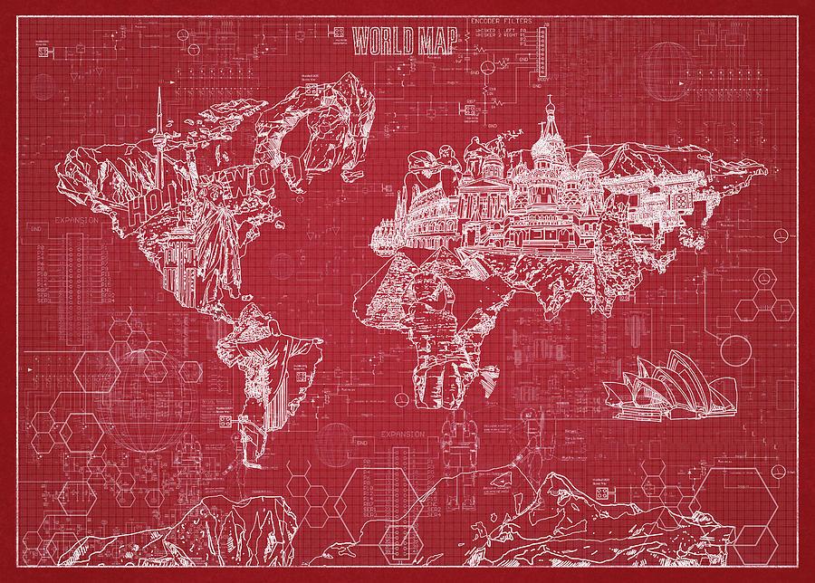 World map blueprint 3 digital art by bekim art map of the world digital art world map blueprint 3 by bekim art malvernweather Choice Image