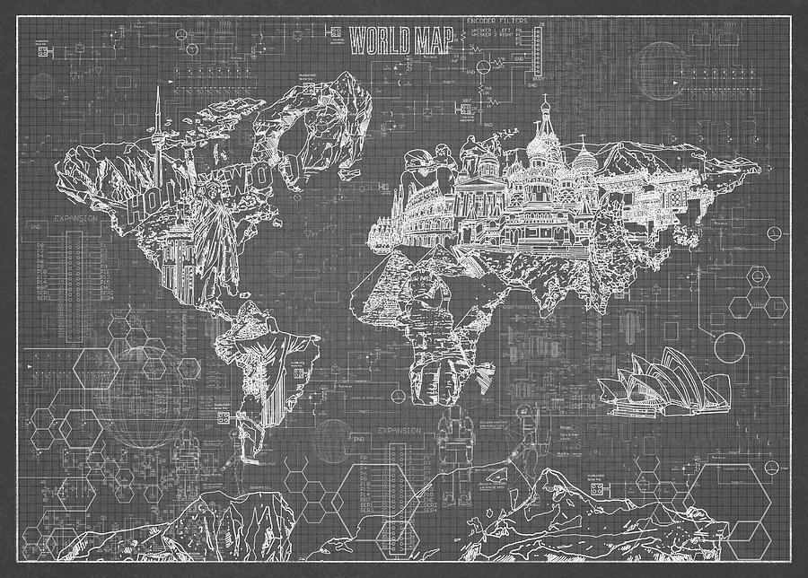 World map blueprint 5 digital art by bekim art map of the world digital art world map blueprint 5 by bekim art malvernweather Images