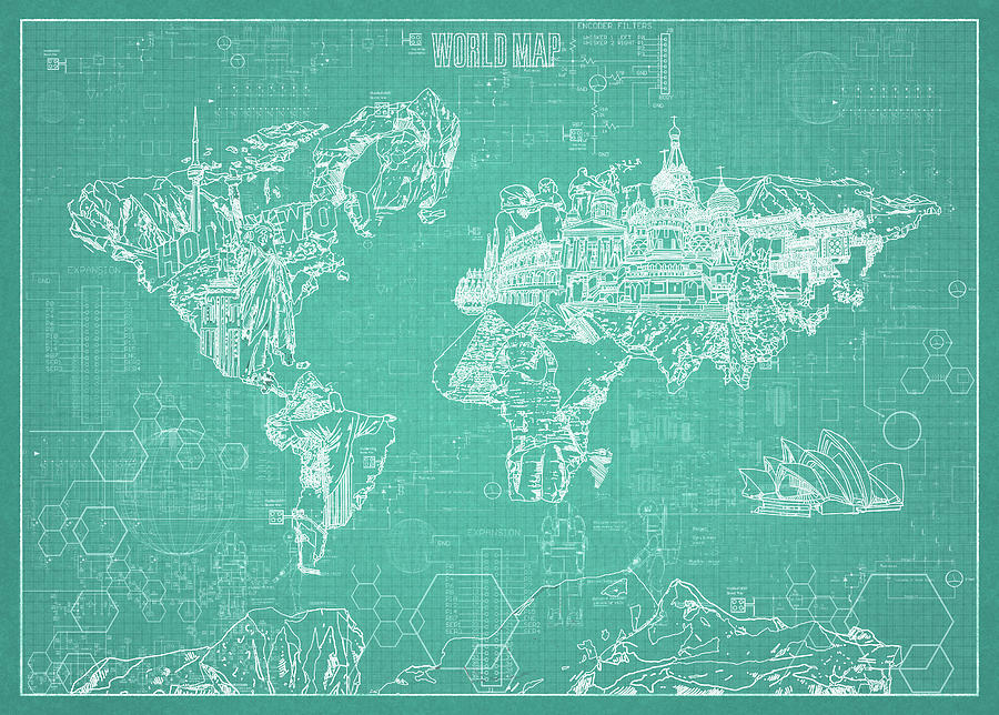 World Map Blueprint 7 Digital Art