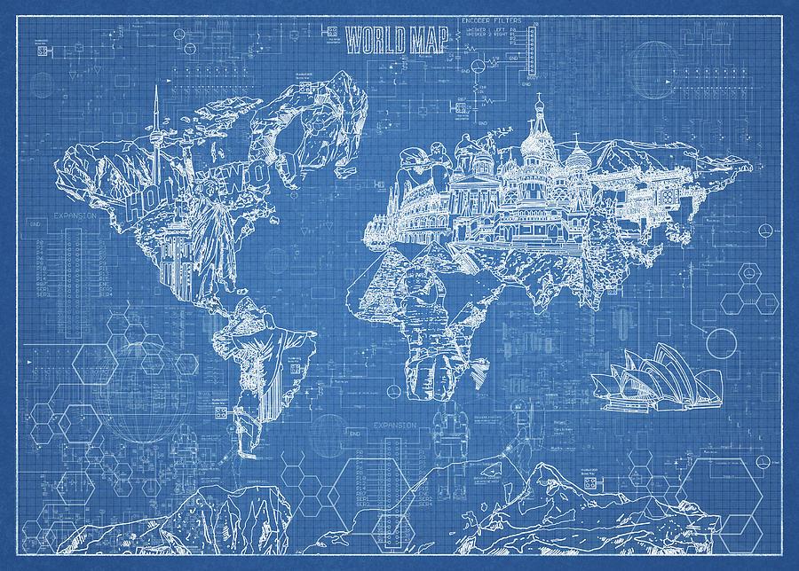 World map blueprint digital art by bekim art map of the world digital art world map blueprint by bekim art malvernweather Choice Image