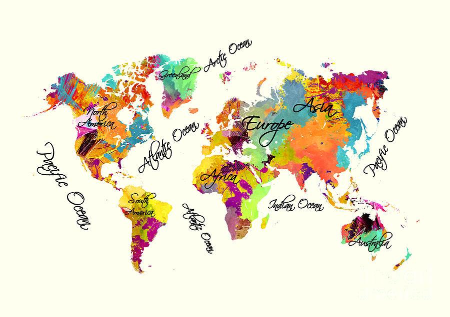 World Map Color Art Atext Digital Art By Justyna Jbjart