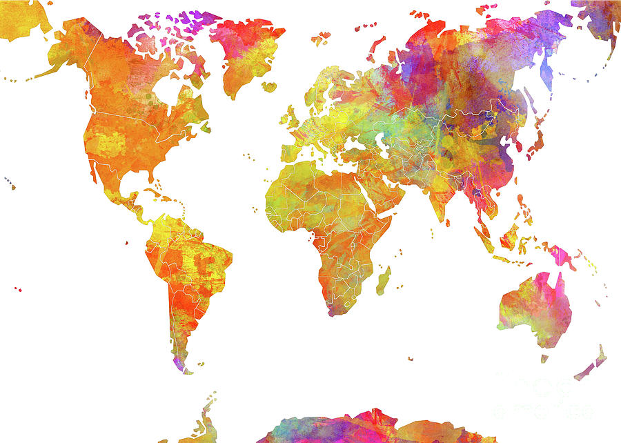 World Map Color Art Digital Art by Justyna JBJart