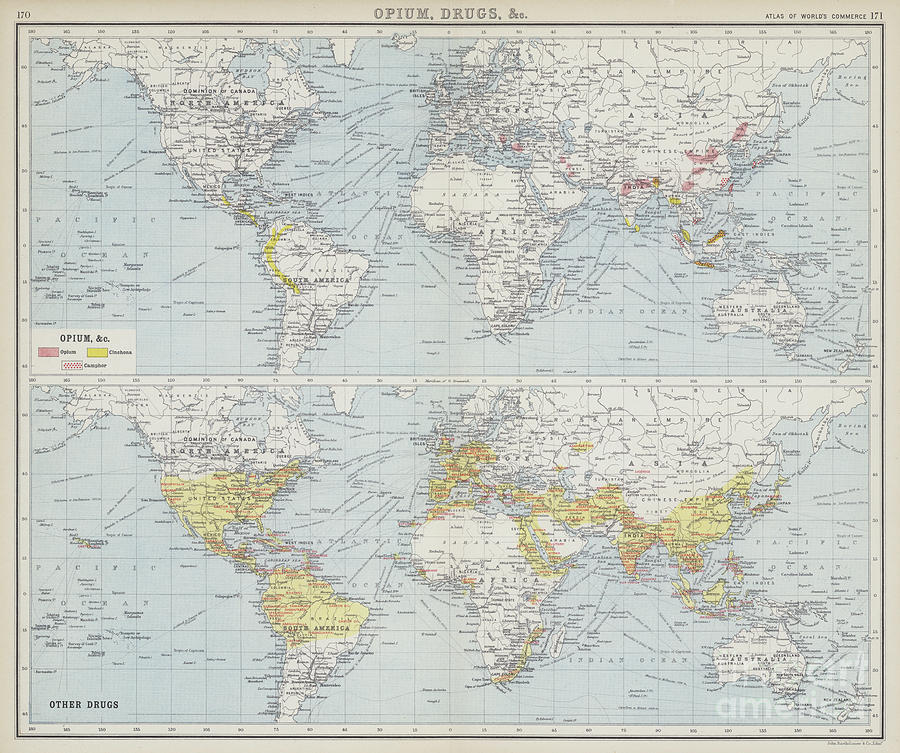 English Map Of The World.World Map Depicting Drug Trade And Production By English School