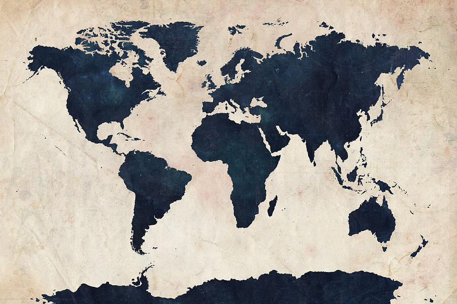 Map Of The World Digital Art - World Map Distressed Navy by Michael Tompsett