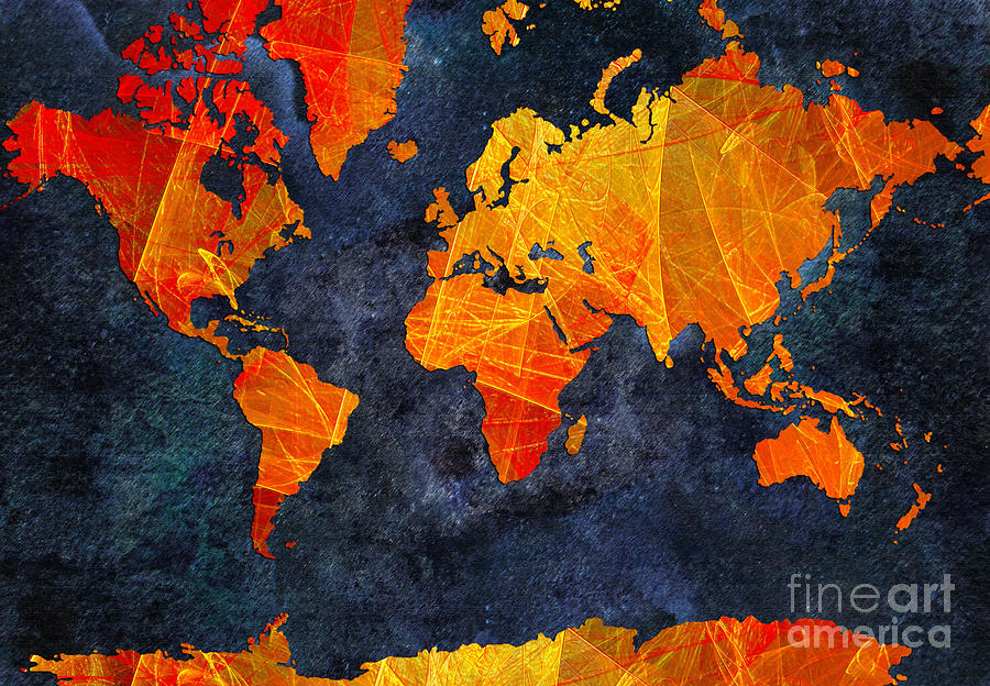 Abstract Digital Art - World Map - Elegance Of The Sun - Fractal - Abstract - Digital Art 2 by Andee Design