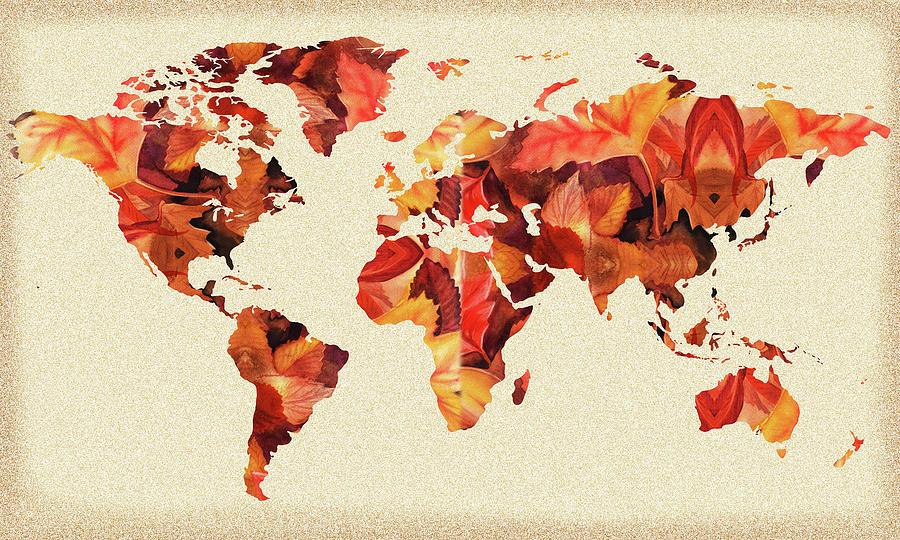 World Map Fall Silhouette