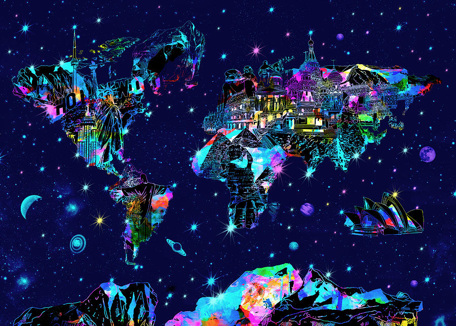World map galaxy 10 painting by bekim art world map painting world map galaxy 10 by bekim art gumiabroncs Images
