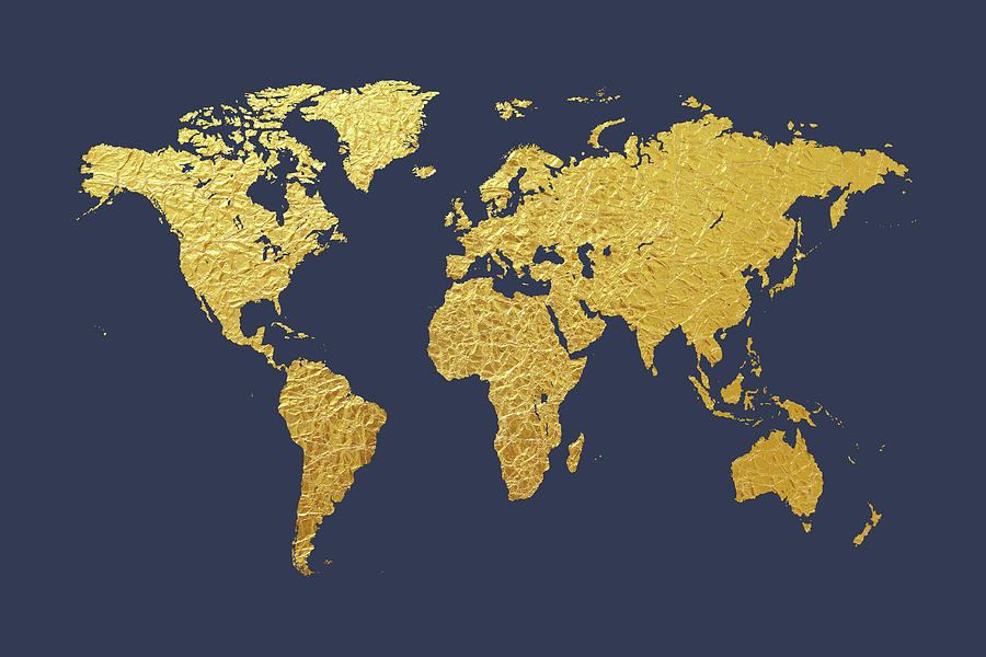 World Map Gold Foil Digital Art by Michael Tompsett