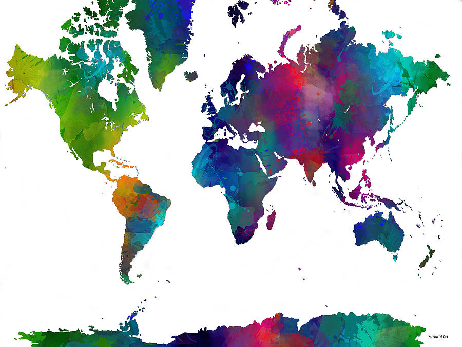 World Map In Color Digital Art By Marlene Watson - Html color map