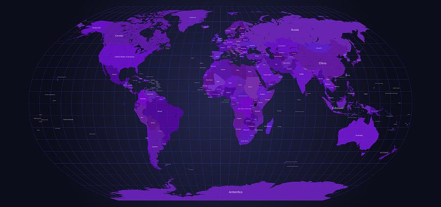 World Map In Purple Digital Art By Michael Tompsett