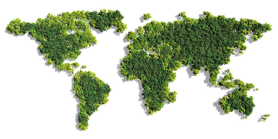 World Photograph - World Map Made Of Green Trees by Johan Swanepoel