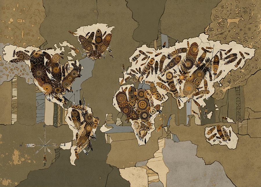 Map Of The World Digital Art - World Map Mandala Feathers 4 by Bekim M