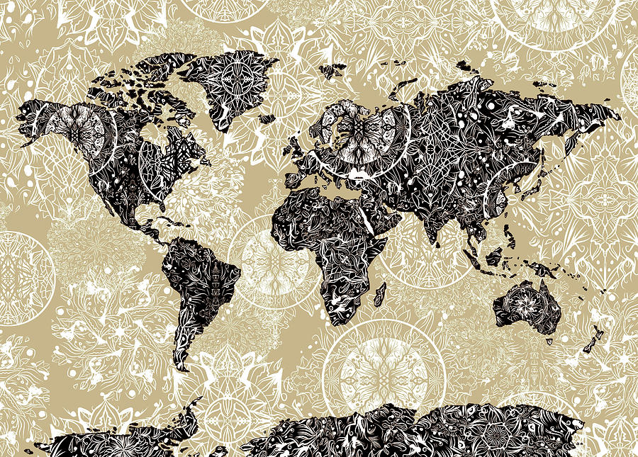 World Map Mandala Sepia Digital Art By Bekim Art - Mandala map of the world