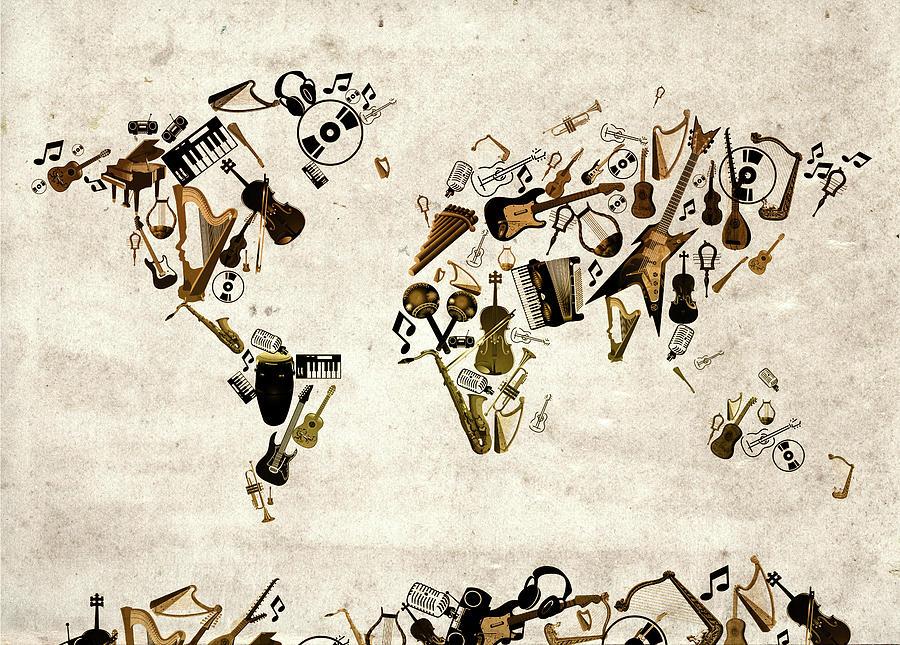 World Map Music 1 Digital Art