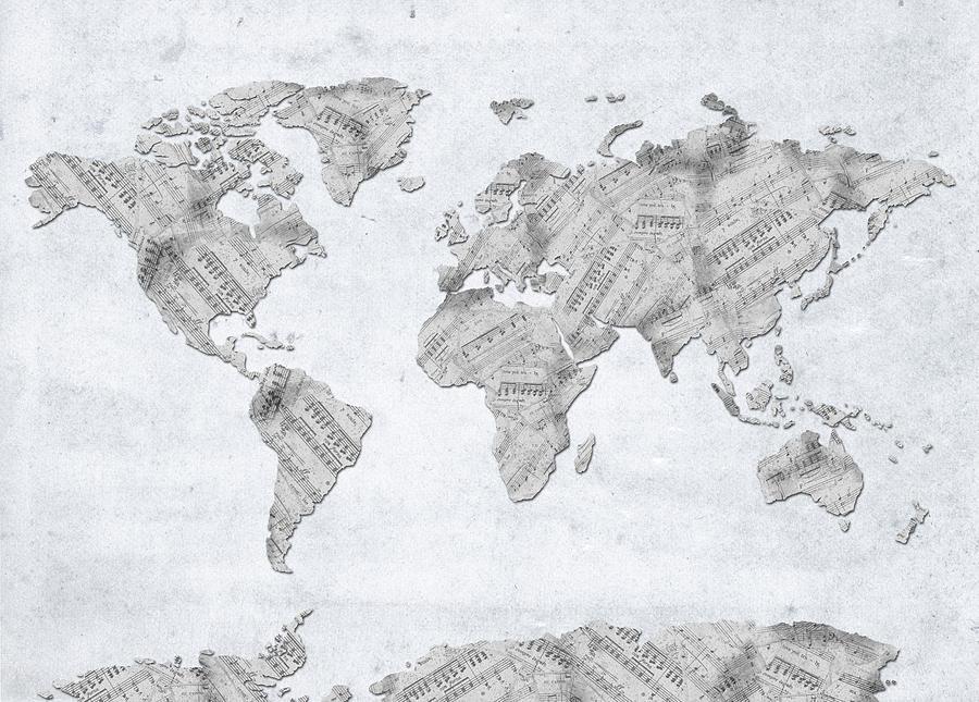 World Map Music 10 Digital Art