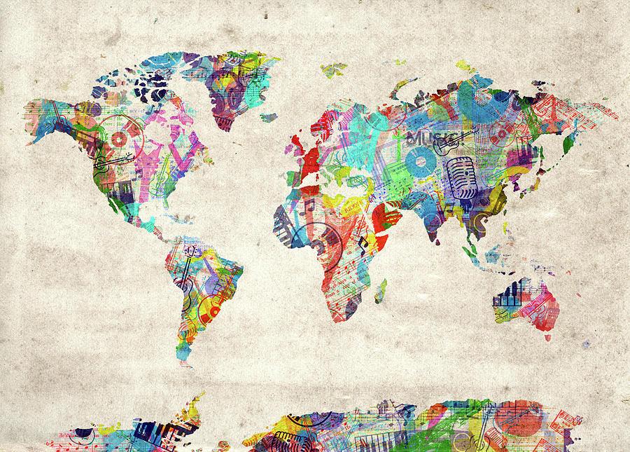 World Map Music 12 Digital Art