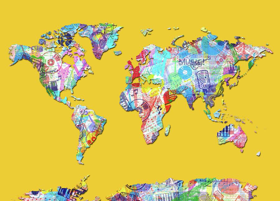 World Map Music 13 Digital Art