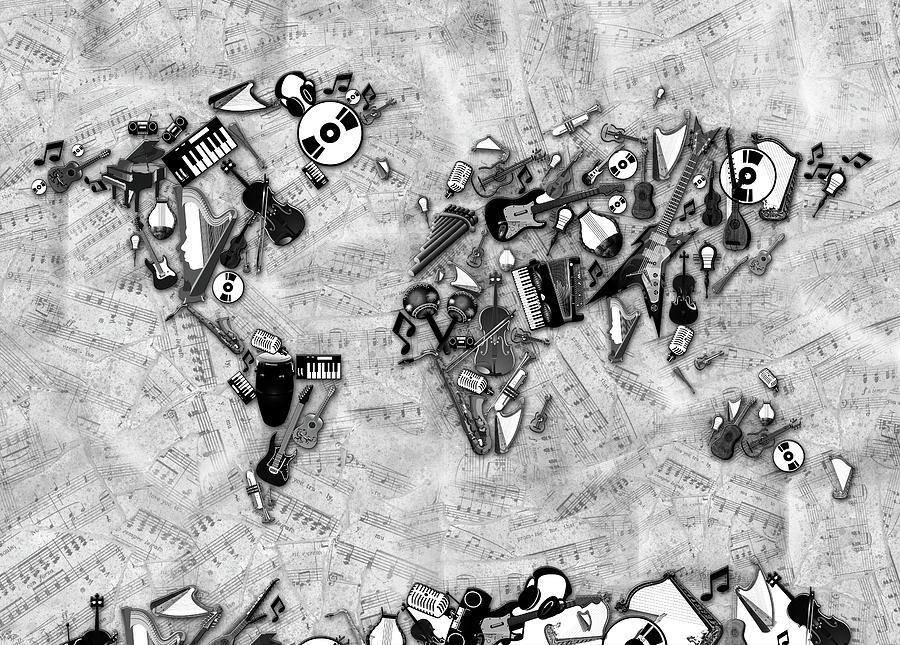World Map Music 2 Digital Art