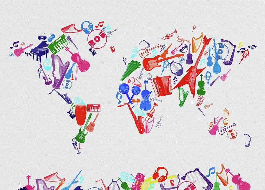World Map Music 3 Digital Art