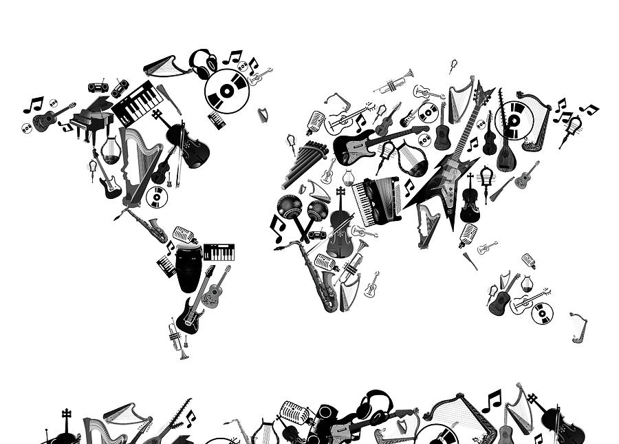 World Map Music 7 Digital Art