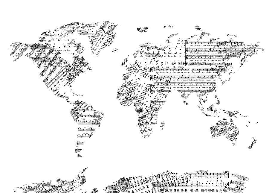 World Map Music 8 Digital Art