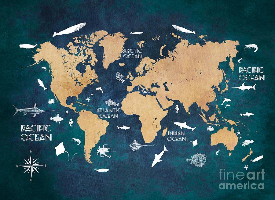 World Map Oceans life Digital Art by Justyna Jaszke JBJart